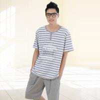 金丰田睡衣 男士夏季短袖条纹时尚五分裤休闲针织家居服套装1571