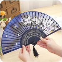 日式创意和风复古樱花竹扇子夏季手摇小扇子古风折扇