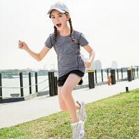 夏季速干衣女童瑜伽服跑步�\�咏∩�和�羽毛球服
