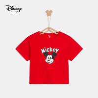 迪士尼男童短袖T恤时尚针织卡通2021夏新款儿童短袖T恤