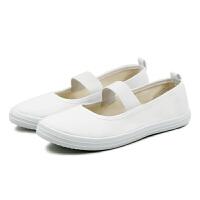 白色松紧带护士鞋平底鞋女式小白鞋工作鞋舒适软底芭蕾舞女士