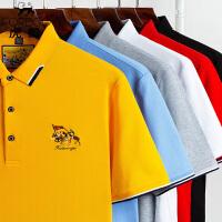 2件3折 虎都男士夏季新款短袖POLO衫 珠地棉纯色商务保罗衫大码宽松男装体恤 HDA9010
