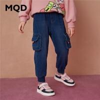MQD童装女童针织牛仔裤2020冬摇粒绒舒适防风保暖儿童百搭牛仔裤