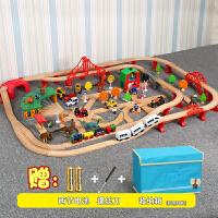 【益智玩具】儿童木质托马斯小火车轨道套装玩具 电动小火车轨道动手拼搭玩具 恐龙款轨道 送收纳箱 官方标配
