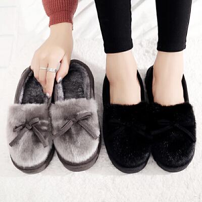 棉拖鞋女包跟厚底家居拖鞋冬季毛毛绒月子鞋可爱室内居家棉鞋保暖
