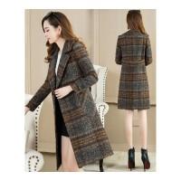 大码女装呢子大衣女中长款韩版秋冬装新款胖妹妹格子毛呢外套