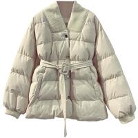 羽绒棉收腰女中长款冬季新品宽松显瘦保暖加厚外套面包服棉衣 均码