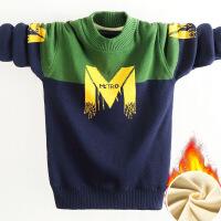 儿童毛衣套头童装男童针织衫中大童加绒加厚打底毛线衣15岁秋冬款