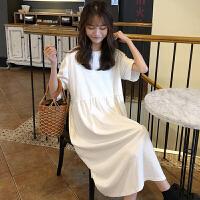 三木子快时尚女装~宽松显瘦中长款圆领短袖连衣裙娃娃裙女