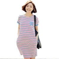 慈颜 孕妇装夏装 海军风条纹短袖孕妇裙 休闲连衣裙子YIFEI585