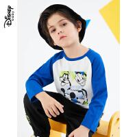 【3件4折券后预估价:43.2】迪士尼童装男童插肩针织长袖T恤儿童宝宝2021春装新款打底衫