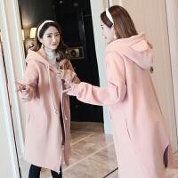 孕妇卫衣2018秋冬加绒孕妇外套新款加厚休闲大码连帽兔耳朵中长款ZT002 粉红色