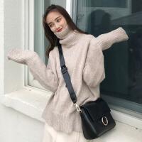 秋冬韩版宽松复古色加厚保暖高领网红套头毛衣针织衫上衣外套女 均码