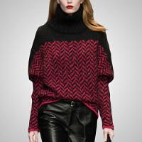 高领套头毛衣女秋冬2018新款宽松长袖衫冬季保暖针织衫打底衫 红黑格子 S 现货