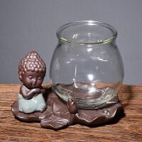 玻璃花瓶水培绿萝简约创意水培植物花盆透明风信子 绿萝插花瓶情人节礼物 沉思如来+宽口瓶 中等