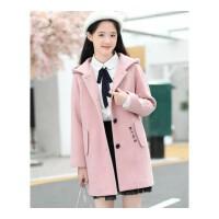 少女冬装外套学生韩版毛呢大衣初高中生加厚外套中长款风衣棒球服
