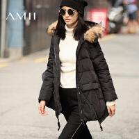 【满200减100 上不封顶】AMII[极简主义]冬新款大毛领连帽大码中长款羽绒服女11641877