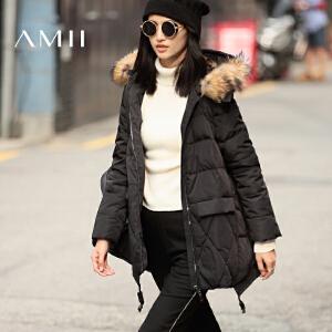 AMII[极简主义]冬新款大毛领连帽大码中长款羽绒服女11641877