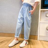 女童牛仔裤薄款夏装儿童中大童宽松休闲洋气哈伦夏季长裤