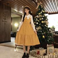 打底连衣裙女秋冬季女装新款韩版灯芯绒背带裙+长袖衬衫两件套装 均码