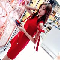 空间红色连衣裙夏季2020新款女装潮性感露肩无袖短款裙子