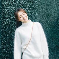 2018秋冬韩国新款马海毛套头修身貂绒衫宽松半高领短款加厚毛衣女