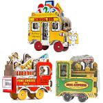 Mini Wheels迷你玩具书系列3册 小小消防车校车蒸汽火车Fire Engine School Bus The