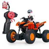胜雄遥控越野全地形摩托车玩具充电大号攀爬赛车漂移男孩汽车 礼盒装 全地形车 橙色 一组充电电池(10—15