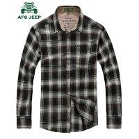 战地吉普AFS JEEP男士长袖衬衫 新款男装长袖格子衬衣 春秋宽松休闲大码衬衫