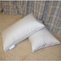 白鹅绒羽绒枕头枕芯单人柔软护颈椎枕j定制 白边 立体50*90