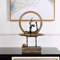 新古典创意瑜伽莲花树脂摆件家居家饰装饰品工艺品 现代客厅玄关创意家居装饰摆件 瑜伽莲花
