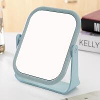 镜子折叠随身便携小号化妆镜简约创意方形迷你女 (急件) 旋转款方形蓝 18*15cm