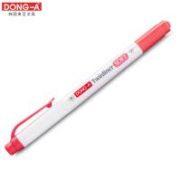 韩国东亚 DONG-A 珍珠杆双头荧光笔 红 当当自营
