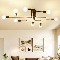 书房创意个性吸顶灯北欧美式简约现代大厅灯卧室灯客厅灯铁艺灯具 8头配7W LED龙珠泡