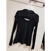 秋冬黑色做旧修身打底衫前后镂空双层长袖假两件显瘦针织上衣女 黑色