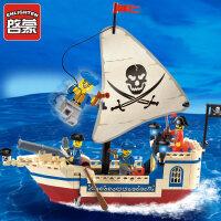 积木小颗粒拼装玩具男孩拼插海盗船模型5-6-8岁儿童玩具抖音