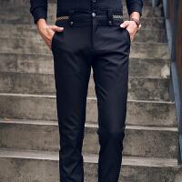 2015新款休闲弹力西裤男休闲男士小脚裤纯色修身微弹西装裤