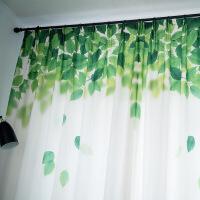 好货田园绿叶印花窗帘成品北欧小清新风卧室布 清新 清新 图片色