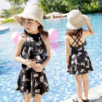 女童女孩学生游泳衣儿童泳衣小中大童连体公主裙式平角泳衣