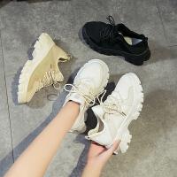 秋款百搭爆款小白鞋女韩版网红松糕厚底帆布鞋ins潮鞋子