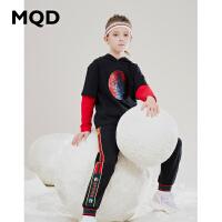 MQD童装女童假两件连帽套装2019秋新款儿童纯棉2件套