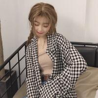 三木子快时尚女装~韩国新款格子衬衫女衬衣宽松长袖早秋上衣