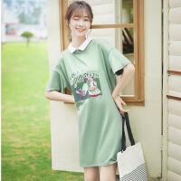 19新款牛油果绿字母polo领连衣裙短袖中长款宽松T恤裙子夏