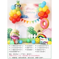 女孩周岁生日趴体布置 一岁宝宝 儿童主题派对背景墙装饰气球套餐