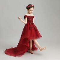 �和��Y服公主裙花童婚�女童�琴演出服走秀主持人晚�Y服拖尾夏季