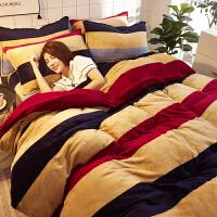 珊瑚绒四件套加厚保暖床上法兰绒法莱绒加绒双面冬季毛绒被套床单定制