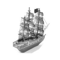 3D金属拼图立体金属模型建筑汽车坦克军事城堡创意礼品玩具模型 藕色 银色珍珠海盗船