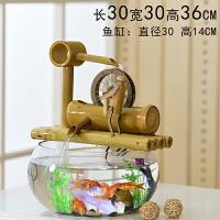 竹子创意金鱼缸水族箱客厅小型迷你玻璃桌面办公室流水喷泉小摆件