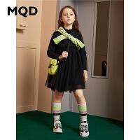 MQD童装女童连衣裙2019冬季新款儿童加绒保暖网纱洋气公主裙长裙