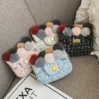 女童宝宝小包包零钱包韩版儿童迷你可爱个性复古毛呢斜挎包